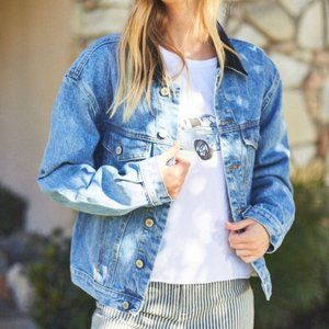 John Galt Relaxed Fit Jean Jacket with Patches